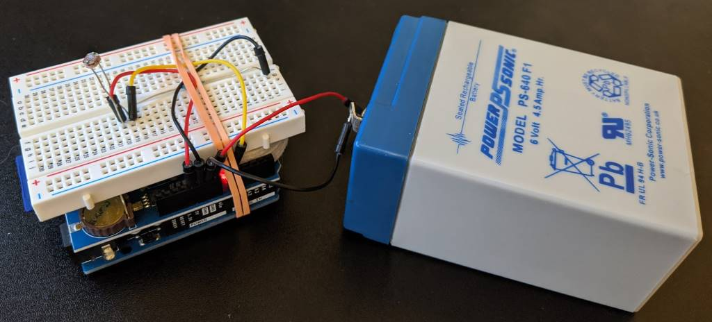 The Arduino 'stack' connected to a battery
